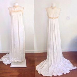 60s Wedding Dress w/ Train Mod Twiggy Hippie Boho